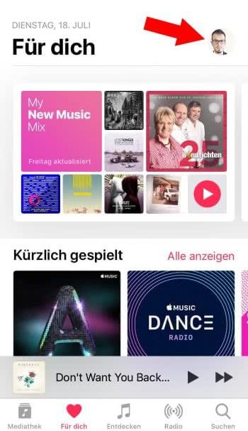 Apple-Music-Profil öffnen