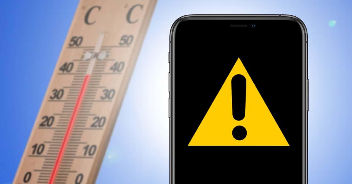 iPhone mit Warnsymbol und Thermometer