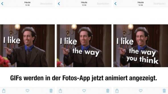GIFs animiert anzeigen in Fotos-App