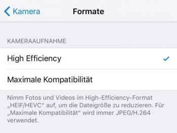 High-Efficiency-Format (de)aktivieren