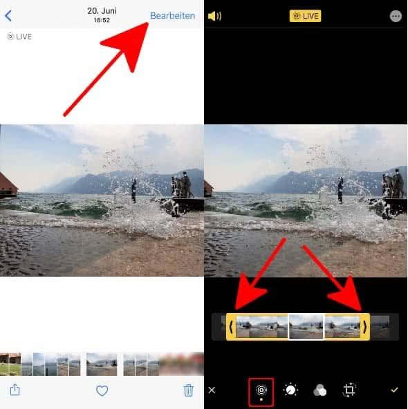 """In Live Photo rechts oben auf """"Bearbeiten"""" tippen, Live Photo Symbol links unten aktivieren und Video im Vorschaubalken mithilfe der Pfeile kürzen"""