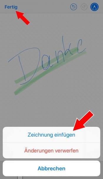 Zeichnung in iPhone Mail hinzufügen