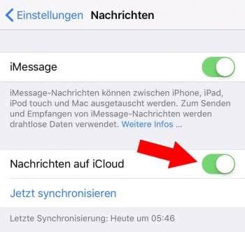 """""""Nachrichten auf iCloud"""" aktivieren"""