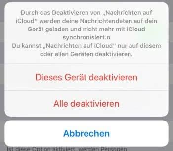 """""""Nachrichten auf iCloud"""" deaktivieren"""