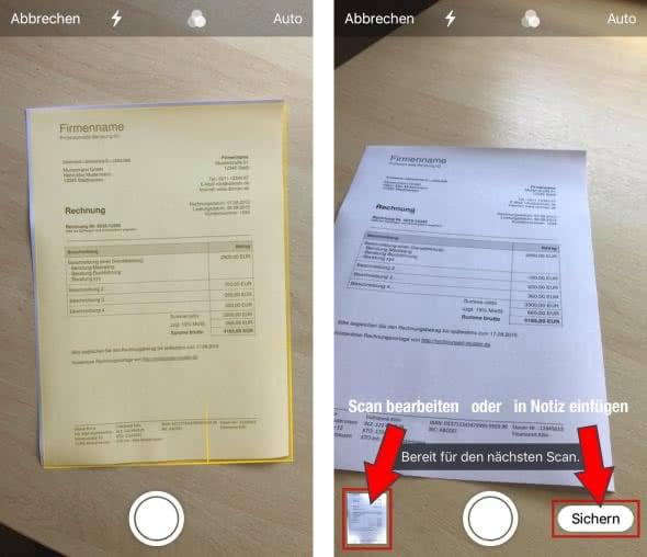 Dokumente scannen mit Notizen-App