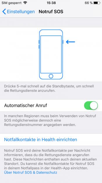 Notruf mit dem iPhone absetzen und Notfallkontakte festlegen