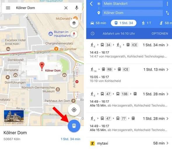 Öffentlichte Verkehrsmittel mit Google Maps nutzen