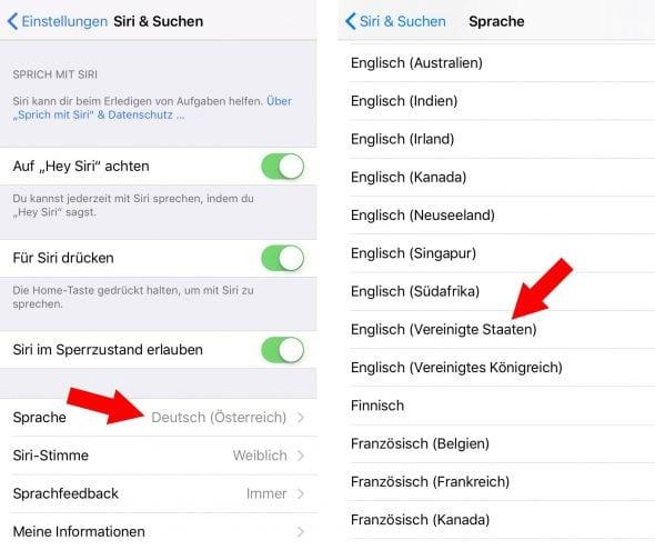 Siri – Sprache auf Englisch umstellen