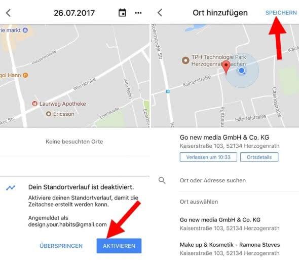 Standortverlauf bei Google Maps aktivieren und deaktivieren