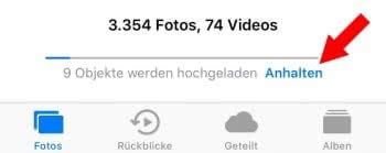 iCloud-Upload pausieren