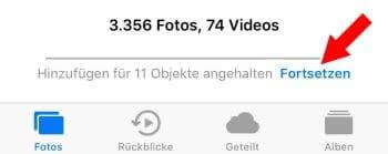 iCloud-Upload fortsetzen