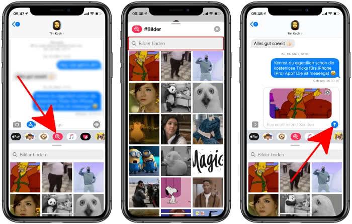 GIFs suchen und verschicken in iMessage