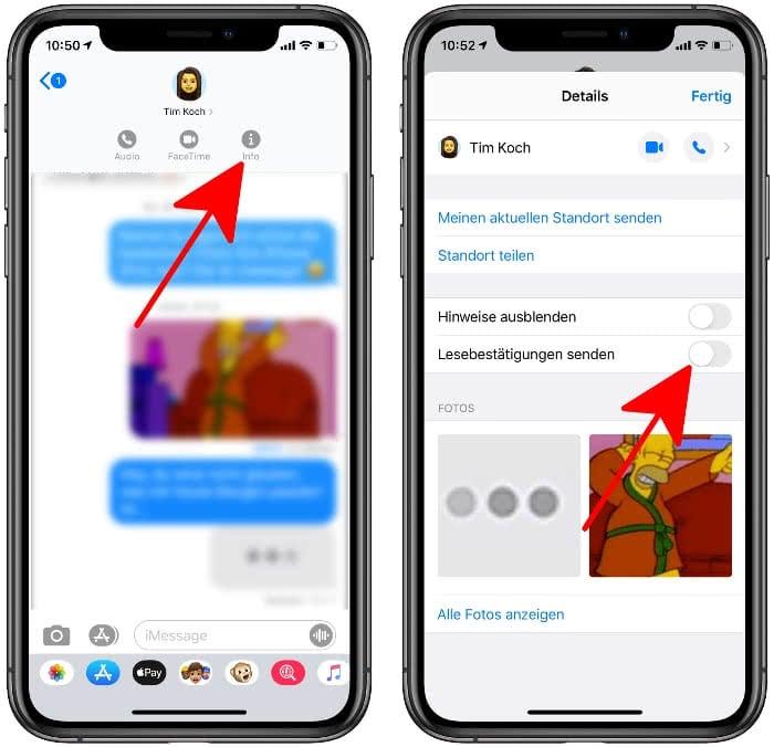 Lesebestätigungen deaktivieren für einzelne Kontakte in iMessage