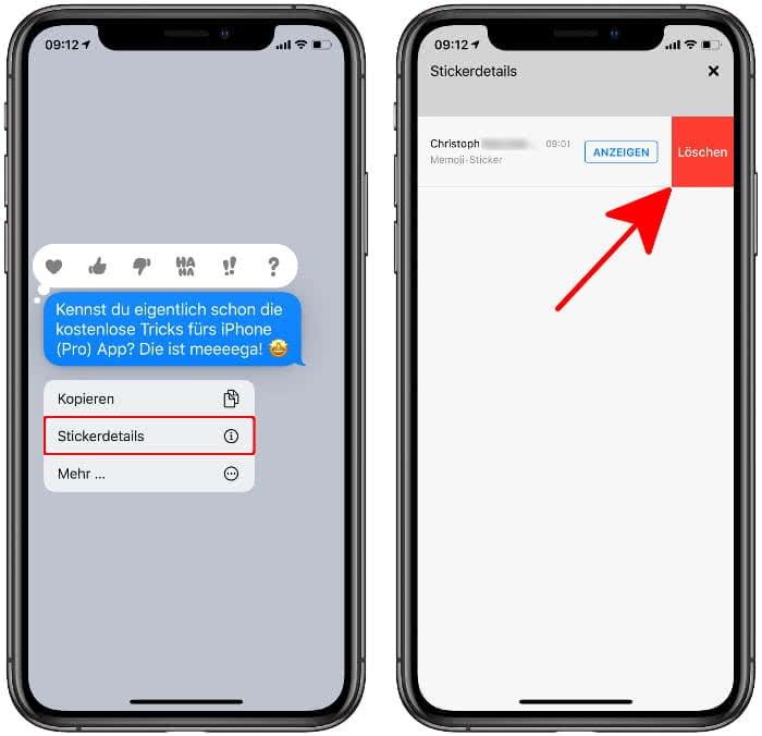 Sticker aus iMessage Chat entfernen