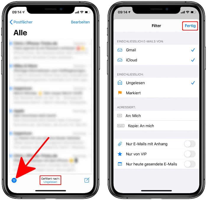 Filter-Funktion in der Mail-App