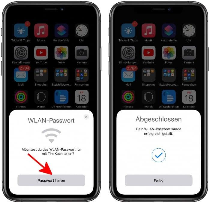 Passwort teilen auf dem iPhone