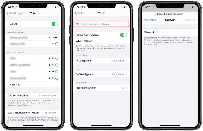Mit Netzwerk verbinden auf dem iPhone