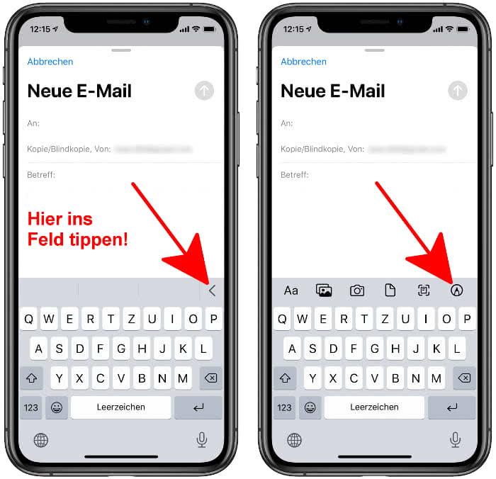 Zeichnen-Tool öffnen in der Mail-App