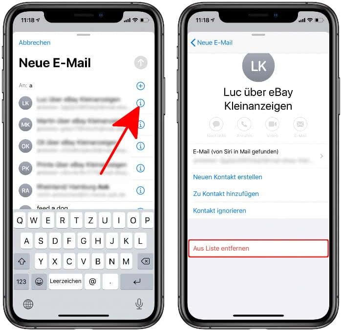 Ungewollte Mail-Adressen aus Empfängerliste entfernen in der Mail-App