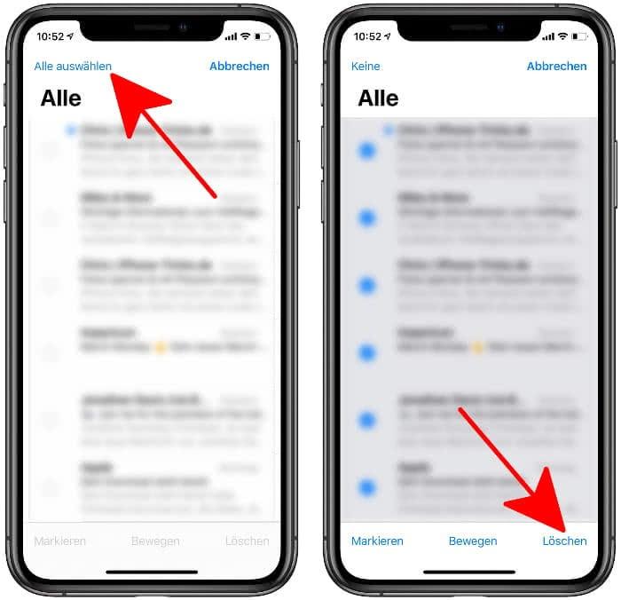 Alle Mails löschen in der Mail-App