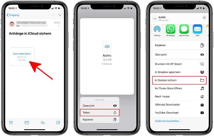 Mail-Anhänge in iCloud sichern