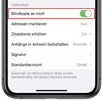 Blindkopie aktivieren für Mails