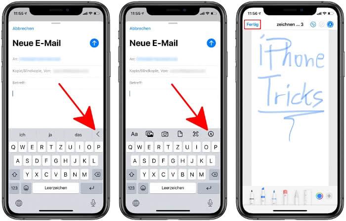 Handschriftliche Notiz einfügen in Mail