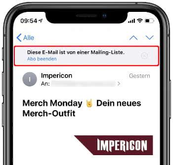 Von Newsletter abmelden in der Mail-App