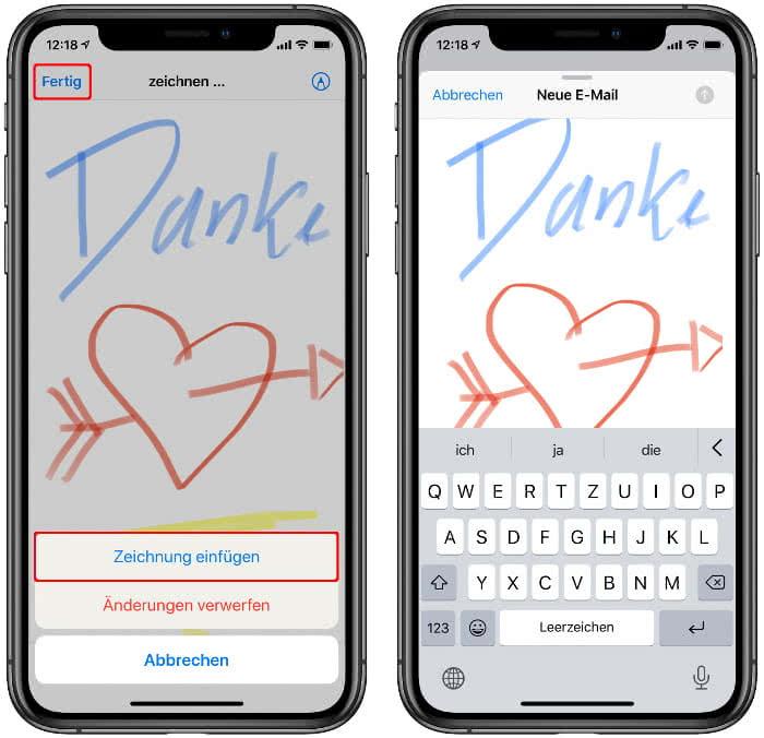 Zeichnung einfügen in der Mail-App