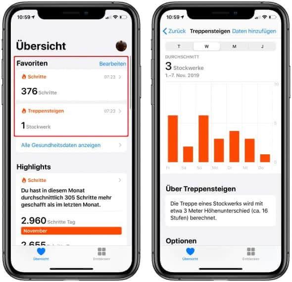 Favoriten auf der Übersichtsseite in der Health-App