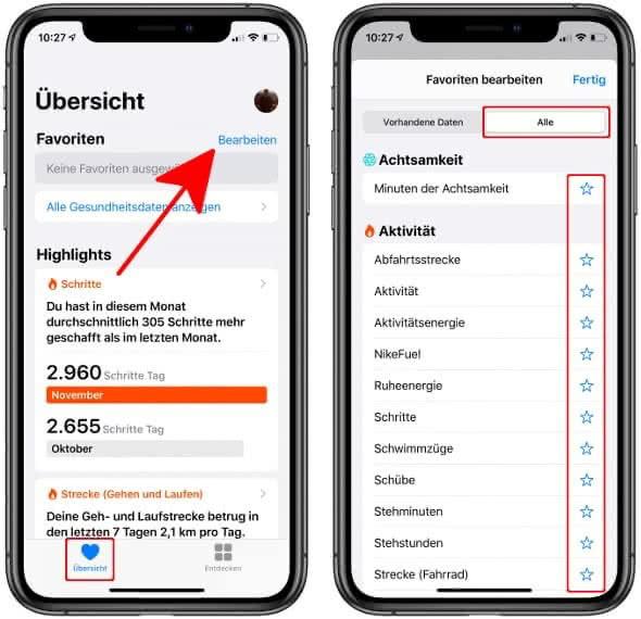 """In der Health-App unter """"Übersicht"""" auf """"Bearbeiten"""" tippen und """"Alle"""" wählen"""
