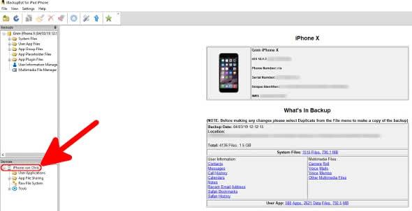 iPhone auswählen im iBackupBot