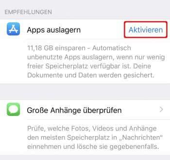 Apps auslagern aktivieren auf dem iPhone