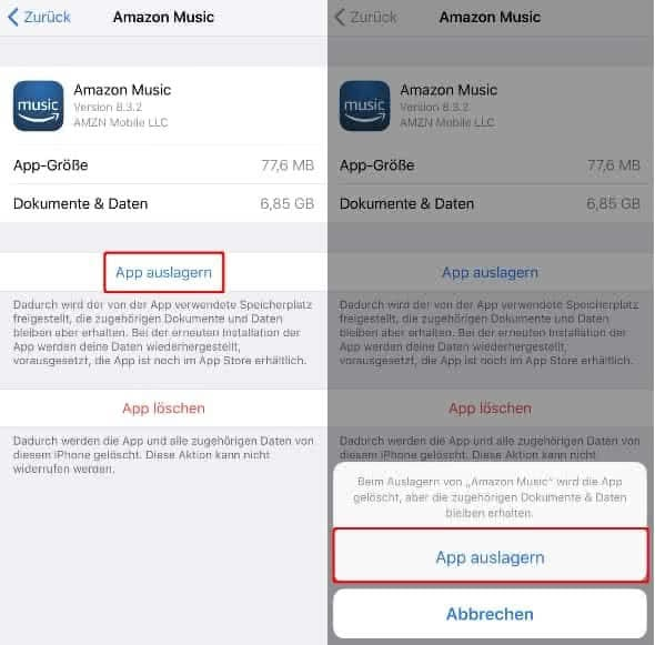Apps manuell auslagern auf dem iPhone