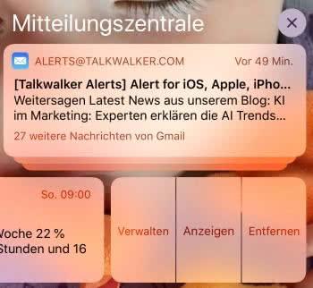 Mitteilungszentrale am iPhone nutzen