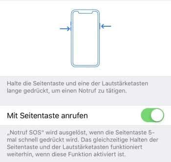 iPhone Notruf absetzen auf dem iPhone X und neuer