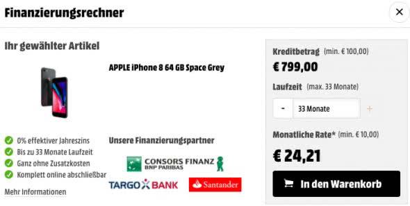 Neben den Funktionen des iPhones findet ihr dort auch die Möglichkeit, die Finanzierung anzupassen.