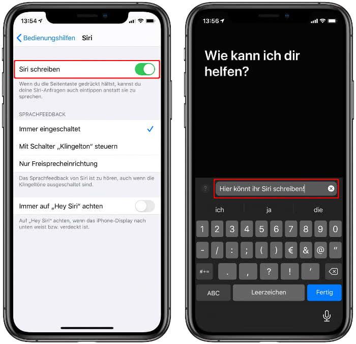 """""""Siri schreiben"""" aktivieren auf dem iPhone"""