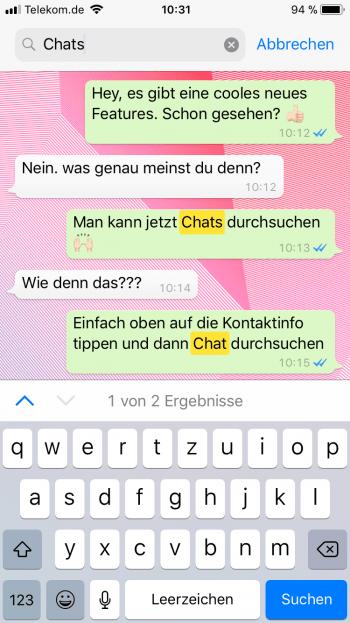 Einzelne Chats in WhatsApp durchsuchen