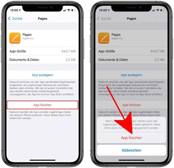 App löschen im iPhone-Speicher Bereich