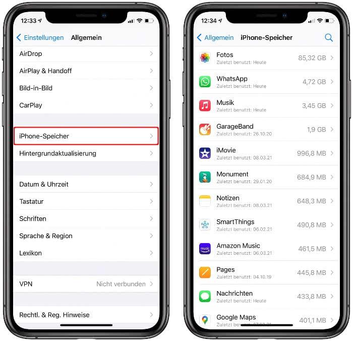 App-Liste auf der iPhone-Speicher Ebene