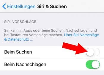 Siri-Suchvorschläge deaktivieren