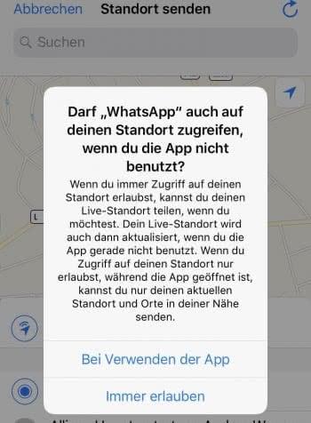 WhatsApp Live Standort immer übermitteln
