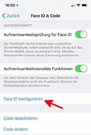 Face ID einrichten am iPhone X.
