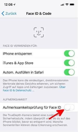 """""""Aufmerksamkeitsprüfung für Face ID"""" deaktivieren und Face ID schneller machen."""
