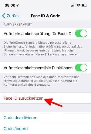 Face ID zurücksetzen am iPhone X.