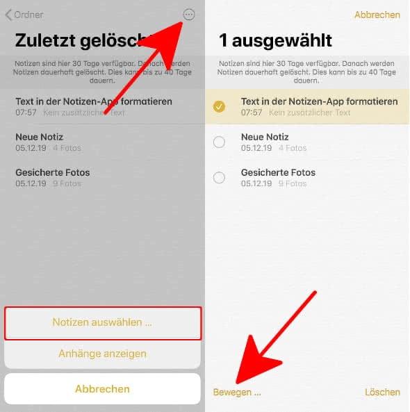 Gelöschte Notizen wiederherstellen am iPhone