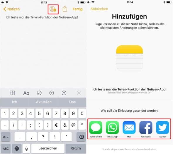 Notizen mit Anderen teilen am iPhone