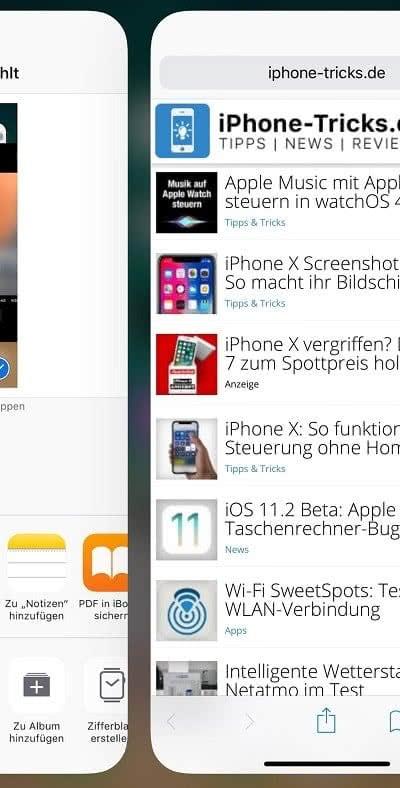 iPhone X Apps wechseln