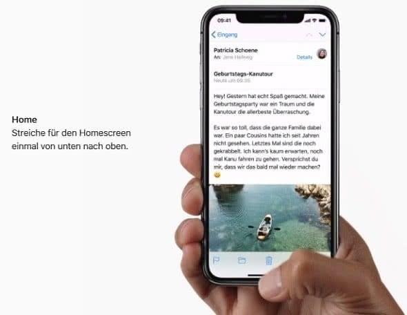 iPhone X Homescreen-Wischgeste